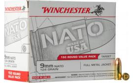 Winchester Ammo USA9NATO 9mm 124 FMJ - 150rd Box