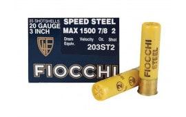 """Fiocchi 203ST2 Speed Steel 20 GA 3"""" 7/8oz #2 Shot - 250sh Case"""