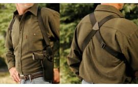 """Uncle Mikes 83041 Sidekick Vertical Shoulder Holster Fits up to 48"""" Chest 7-8.5"""" Barrel Med/Large Double Action Revolver Nylon Black"""