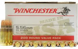 Winchester Ammo USA556L2 Case, 5.56, 55 Grain, Brass, Boxer, FMJ - 800 Round Case