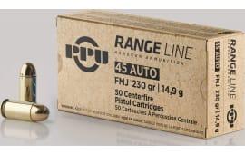 PPU PPR45 .45 ACP Range Ammunition, 230 FMJ - 50 Round Box - Brass, Boxer, Non-Corrosive