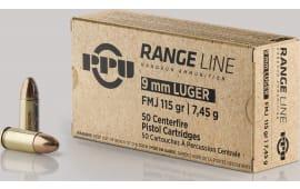 PPU PPR9 9mm Range 115 FMJ 50/20 - 50rd Box