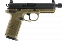 "FN 66100353 FNX 45 Tactical DA/SA 5.3"" TB 10+1 3 Mags NS Flat Dark Earth Interchangeable Backstrap Grip Black Stainless Steel"