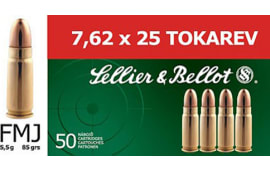 Sellier & Bellot SB762TOK Rifle Training 7.6mmX25mm Tokarev FMJ 85 GR/30Ca - 50rd Box