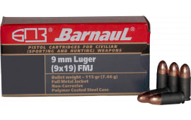 Barnaul 9MM Luger Case,  FMJ 115 Grain, Non-Corrosive 50 Rounds / Box - 500 Round Case