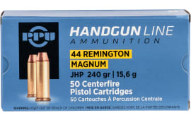 PPU PPH44MH Handgun 44 Remington Magnum 240 GR Jacketed Hollow Point - 20rd Box