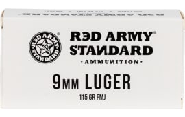 Red Army Standard 9mm Ammunition, 115 Gr. FMJ, Laquer Coated, Steel Case, Non-Corrosive - 50 Round Box Mfg # AM3091
