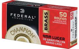 Federal WM5199 Case - Federal Champion 9mm 115 FMJ Grain, Brass Cased Non-Corrosive - 1000 Round CAse
