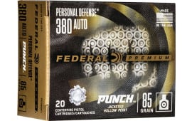 Federal PD380P1 380 85 Punch Jacketed Hollow Point - 20rd Box