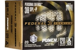 Federal PD38P1 38SP 120 Punch Jacketed Hollow Point - 20rd Box