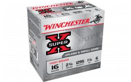 """Winchester Ammo X16H6 Super-X High Brass 16GA 2.75"""" 1-1/8oz #6 Shot - 25sh Box"""