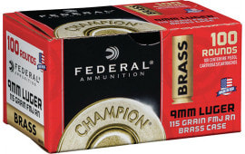 Federal WM51991 9mm Brass 115 FMJ - 100rd Box