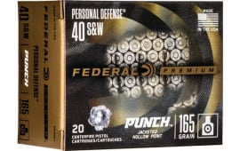 Federal PD40P1 40 165 Punch Jacketed Hollow Point - 20rd Box