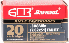 Barnaul BRN308WINFMJBT168 .308 Win, 168 Grain FMJ Boat Tail, Steel Case, Non Corrosive  - 500rd Case