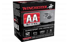 "Winchester Ammo AASCL12S8 AA Steel 12GA 2.75"" 1oz #8 Shot - 25sh Box"