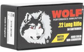 Wolf 22MTB 22LR MTCH TRGT 40 SOL RN - 50rd Box