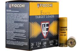 """Fiocchi 20LITE75 Exacta Trainer 20GA 2.75"""" 3/4oz #7.5 Shot - 25sh Box"""