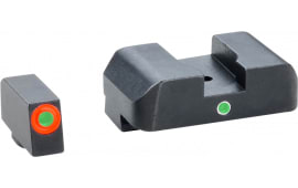 AmeriGlo GL203 i-Dot Night Sight Set Glock 10/45 20/21/29/30/31/32/36/41 Green w/Orange Outline Front Green w/White Outline Rear Black