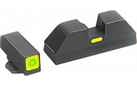 AmeriGlo GL615 CAP Night Sight Glock 20/21/29/30/31/32/36 Tritium Green w/Lime Outline Steel Black