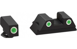 AmeriGlo GL430 Classic 3 Dot Night Sight Glock 42/43 Tritium/Paint Green w/White Outline Black