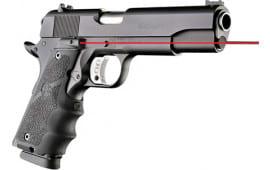 Hogue 45080 Laser Enhanced Grip 1911 Government Model Rubber Grip Black Red Laser