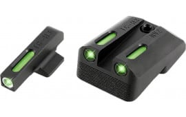 Truglo TG13NV3A TFX Day/Night Sights 1911 Pistol Tritium/Fiber Optic Green w/White Outline Front Green Rear Black