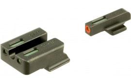 TruGlo TG13RS3PC TFX PRO Ruger American Steel Green Tritium w/Orange Outline Steel Green Tritium and Fiber Optic Black