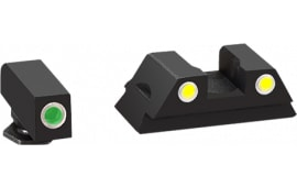 AmeriGlo GL431 Classic 3 Dot Night Sight Glock 43 Steel Green w/White Outline Yellow w/White Outline Black
