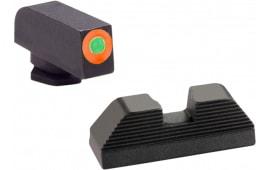 AmeriGlo GL436 Hackathorn Sight Glock 42/43 Steel Green w/Orange Outline Black