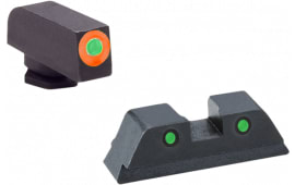 AmeriGlo GL450 Spartan Operator Night Sights Glock 42/43 Steel Green w/Orange Outline Black
