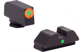 AmeriGlo GL205 i-Dot Night Sights Glock 42/43 Steel Green w/Orange Outline Steel Green Black