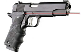 Hogue 45080 Laser Enhanced Grip 1911 Government Model Rubber Grip Black Red Laser