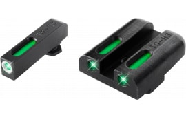TruGlo TG13GL1A TFX Day/Night Sights Glock 17/19/22/23/24/26/27/33/34/35/38/39 Tritium/Fiber Optic Green w/White Outline Front