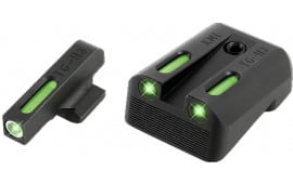 TruGlo TG13KM1A TFX Day/Night Sights Kimber Tritium/Fiber Optic Green w/White Outline Front Green Rear Black