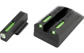 TruGlo TG13RS1A TFX Day/Night Sights Ruger SR9/SR40/SR45 Tritium/Fiber Optic Green w/White Outline Front Green Rear Black