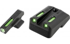 TruGlo TG13NV2A TFX Day/Night Sights 1911 Pistol Tritium/Fiber Optic Green w/White Outline Front Green Rear Black