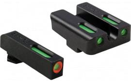 TruGlo TG13GL1PC TFX PRO Glock 17/19/22/23/24/26/27/33/34/35/37/38/39 Fiber Optic Green Tritium w/Orange Outline Front Green Rear Black