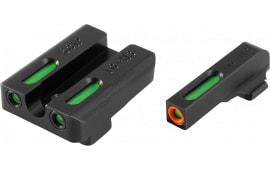 Truglo TG13SG1PC TFX Pro Day/Night Sights Pistol Tritium/Fiber Optic Green w/Orange Outline #8 Front Green #8 Rear Black