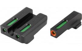 Truglo TG13SG2PC TFX Pro Day/Night Sights Pistol Tritium/Fiber Optic Green w/Orange Outline #6 Front Green #8 Rear Black
