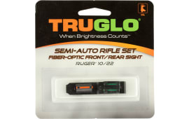 Truglo TG111W Rimfire Rifle Fiber Optic Set Ruger 10/22 Fiber Optic Red Front Green Rear Black