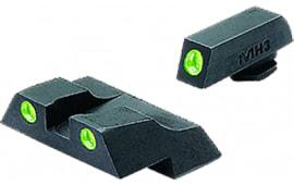 Meprolight 10226 Tru-Dot NS Fixed Set For Glock 26/27 Tritium Green Front/Rear