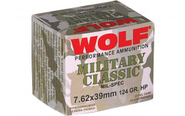 Wolf MC762BHP Military Classic 7.62x39mm 124 GR Jacketed Hollow Point 1000 Rds Total - 1000rd Case