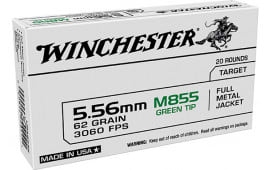 Winchester Ammo USA855K USA 5.56x45mm NATO 62 GRFull Metal Jacket Lead Core (FMJLC) - 20rd Box