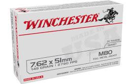Winchester Ammo WM80 USA Case, 7.62x51mm NATO 149 GR Full metal Jacket Lead Core (FMJLC) - 20 Rds / Box - 500 Round Case