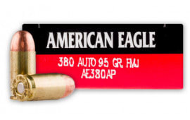 American Eagle .380 ACP 95 GR FMJ Ammunition- 1000 Rd Case- AE380AP