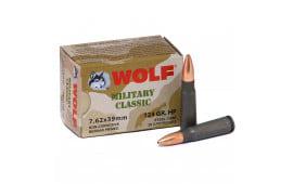 Wolf Military Classic 7.62x39 124 GR HP Ammo - 20rd Box