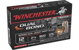 "Winchester Ammo SSDB12 Elite Dual Bond 12 GA 2.75"" 375  GR Sabot Slug Shot - 5sh Box"