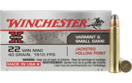 Winchester Ammo X22MH Super-X 22 WMR 40  GR Jacketed Hollow Point - 50rd Box