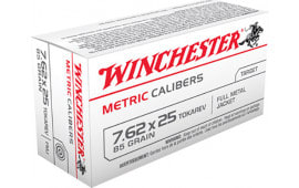 Winchester Ammo MC762TOK Metric 7.62X25mm Tokarev 85  GR Full Metal Jacket - 50rd Box