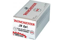 Winchester Ammo USA38SPVP Best Value 38 Special 130  GR Full Metal Jacket - 100rd Box